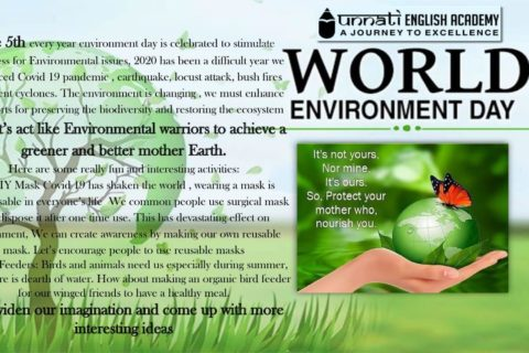 We at Unnati promoting Environmental awareness on this World Environment Day 2020